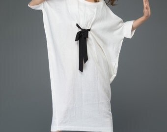 White Linen Dress - Loose-Fitting Casual or Smart Women's Designer Dress with Black Ribbon Tie & Batwing Sleeves C913