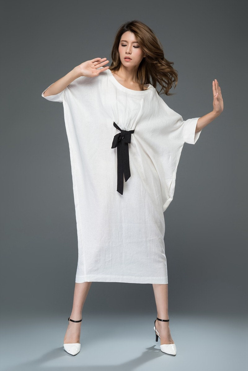 White Linen Dress Loose Fitting Casual Or Smart Women S