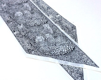 Vintage Vera Neumann Scarf, Vera Leopard Print Scarf, Navy Blue and White
