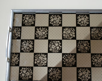 Vintage Mirrored Checker board Tray Floral 1960's