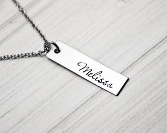 Kids Name - Hand Stamped Necklace - Hand Stamped Mommy Jewelry - Stainless Steel -  Personalized Mother's Day Gift