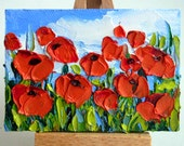 Poppy Art Original ACEO Oil Painting Poppy Field Red Flower Floral Mini Tiny Painting SFA Palette Knife Textured Impasto