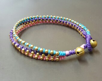 Triple Bland Color Brass Anklet