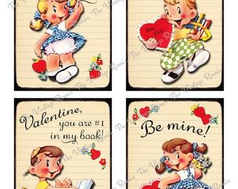 Printable School Valentines, Set of 4, Retro Vintage Kids, Digital Collage Sheet, 3.5 x 5 inch Cards. Instant Download.