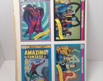 Vintage uncut promo tradings cards marvel comics magneto X-MEN FANTASTIC four
