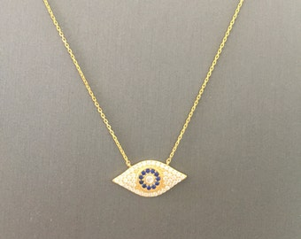 Dome Evil Eye Necklace-Gold