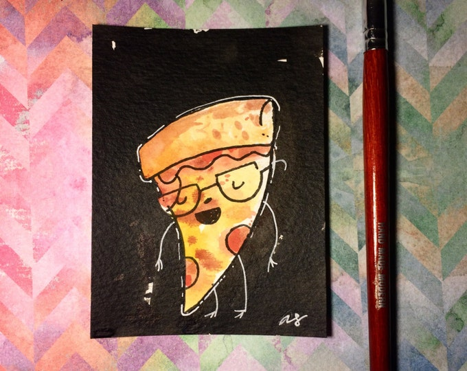 """Watercolor and ink Painting """"Pizza Dude"""" 3x4 inches drawing / decoration."""