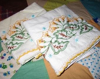 Vintage Embroidery Pillowcase (Yellow)