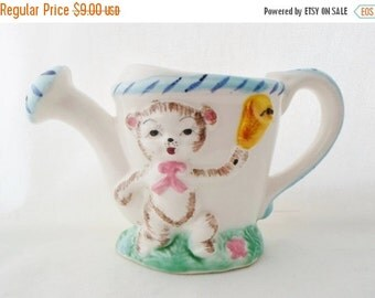ON SALE Child's, Watering Can, Ceramic, Made in Japan, Cat, Kitten, Bear, Easter, Cottage Chic, Flower, Pink, Yellow, Blue, Hand Painted, Vi