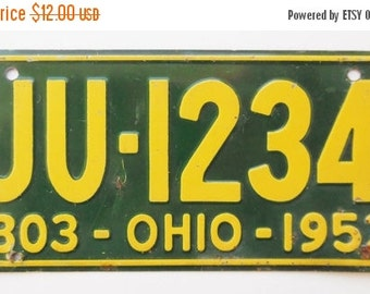 ON SALE Vintage, Ohio, 1953, Wheaties, Bike Plate, Bicycle, License Plate, Cereal Premium, Miniature, Tin, Embossed, Collectibles