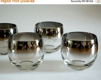 ON SALE Mad Men Style, Silver Ombre Fade, Roly Poly, Glasses, Barware, Bar Glass, Mid Century Modern, Set of 4, Vintage, Silver, Rocks Glass