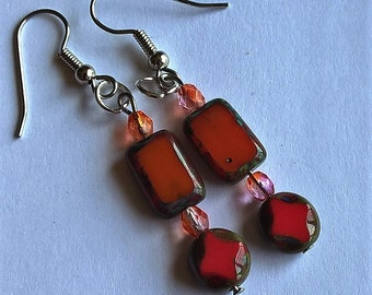 Orange and Pink Dangle Earrings: Czech Glass Beads and Surgical Steel Earring Hooks