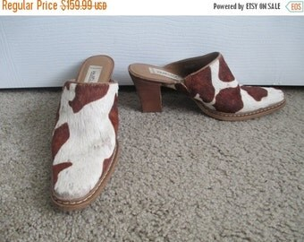 80% OFF MOTHERS SALE Vintage Matisse Cow Fur Print Leather Boho Summer Shoes High Heel Closed Toe Clogs Mules Shoes Sz 7.5M Made in Brazil