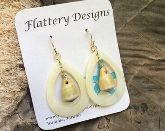 Hawaiian Cone Shell Mother of Pearl Earrings