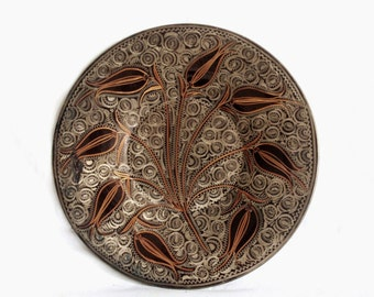 ETCHED vintage copper WALL hanging plate 13'' home decor, folk art, tulip leaf etching, decorative collectible Turkish ERZINCAN metal tray