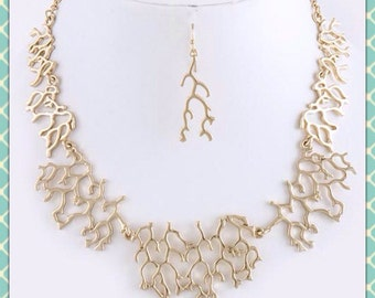 Gold Coral Branch Set
