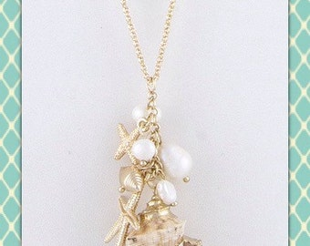 Shell and Pearl Charm Cluster Necklace
