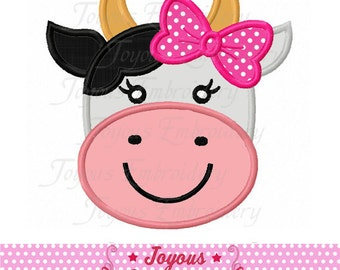 Instant Download Girl Cow Applique Machine Embroidery Design NO:2123