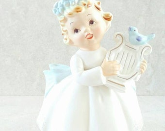 Lefton Angel Flower Pot Angelica Angel White Ware Lefton Planter Blonde Haired Angel With Blue Birds and Blue Flowers Lefton Japan 2977