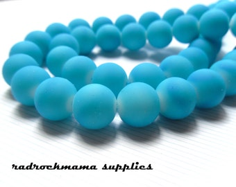 Fun Neon Blue Rubberized 12mm Glass Bead Strand (16 or 32 inch)   -D4D3-2