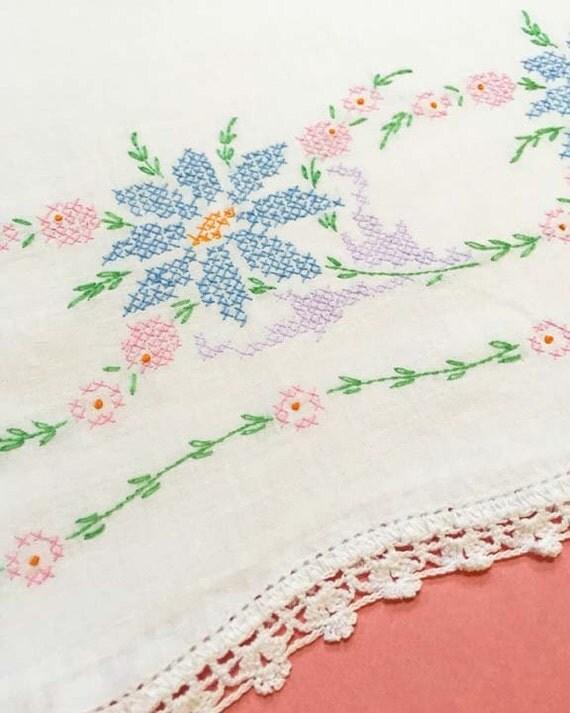 Pastel Cross Stitch Vintage Pillowcase