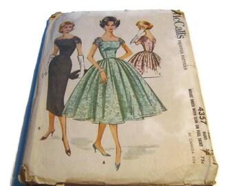 McCall's 1957 Slim or Full Skirt Dress Pattern