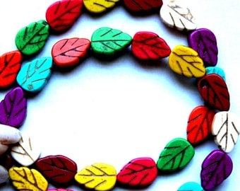 Full Strand of Mixed Color Leaf Magnesite Beads
