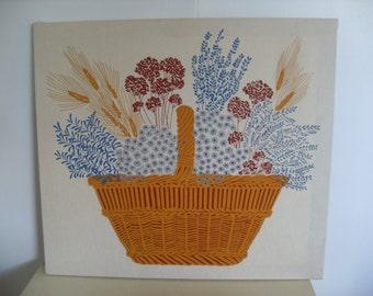 Vintage Mid Century Country   BATIK Art/Print  Basket of Flowers, Vintage Wall Art