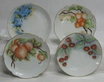 4 Vintage Hand Painted Plated Plates Fruit Peaches Raspberries Jack-O-Lantern Flowers Forget-Me-Nots Dessert Germany Bavaria Decorator