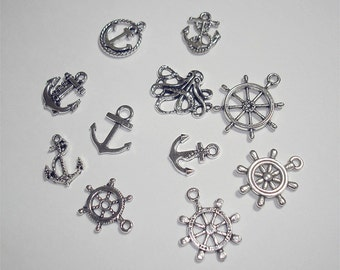 11PC Steampunk Vintage Style Antique Silver Rudder & Anchor Charm Assortment//11pc Vintage style steampunk charms// COLOR KISSED SILK