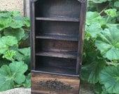 Dark Stained Bookcase w Bronze Embellishments - Dollhouse Miniature