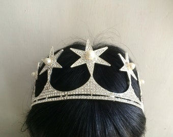 Sparkle stara wedding bridal jewelry crown Swarovski rhinestone crystals and pearls hair comb tiara