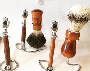 Hawaiian Curly Koa Wood Razor and Shaving Brush
