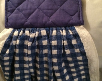 Blue and white checked towel