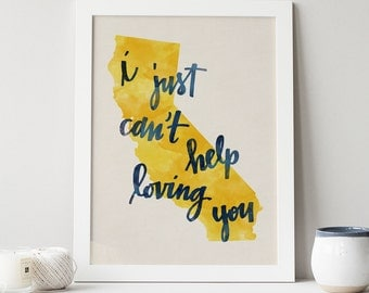 California state hand lettering digital print // Quote print // State art // Gift for Her // Gift for Him // Canvas print