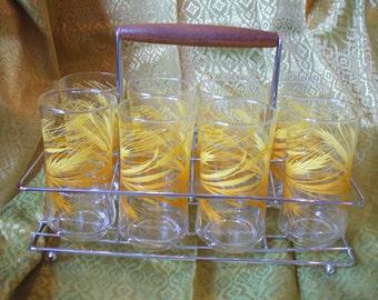 1950's Glass Caddy w/8 Glasses