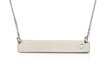 Silver Bar Necklace, Roman Numeral Necklace, Initial Bar, Name necklace, Horizontal bar pendant, Monogrammed bar