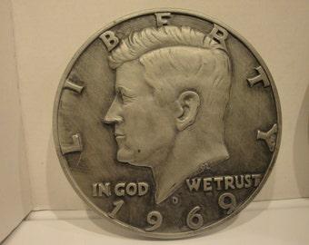 2 Vintage '68 MODERN ART CO. chalkware plaster wall plaque hanging United States of America Half Dollar