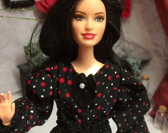 "Grey, Black, Red and White Polka Dot Blouse for your Barbie Doll or Moxie Teenz 14"" Doll or other similar size BJD Dolls"