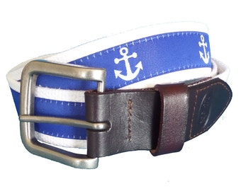 White Anchor onn Royal Nautical Belt / Leather Belt / Canvas Belt / Preppy Webbing Belt for Men, Women and Children/White Anchor Ribbon