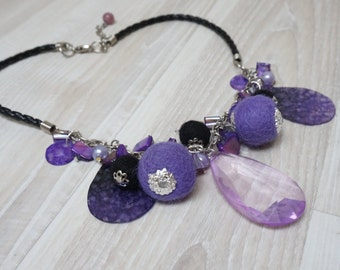 Purple Necklace made of shell felt ball faux pearl bead and faux acrylic plastic diamond tone leather braided black silver color chain