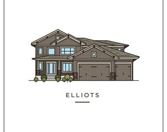 Custom Home Illustration - 8x10 House Portrait