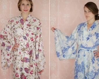"One custom ""Noguchi"" kimono robe in a soft cotton fabric. Long kimono robe. Lined & with pockets. Long womens cotton robe."