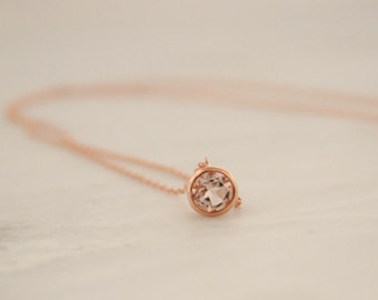 Morganite Bezel Solitaire Necklace