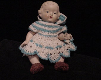 Small Bisque Doll, Marked Occupied Japan, Moveable Arms Legs, in Hand-made Clothes