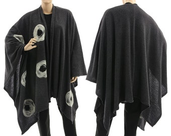 Artsy boho knitted poncho cape wrap, wool knit poncho grey shades, needle felt applications / small to plus size S-XXXL - US size 8 up to 24