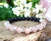 Protection in Love, Shungite & Rose Quartz Gemstone Mala Bracelet, Healing Reiki Energy, Root, Heart Chakra