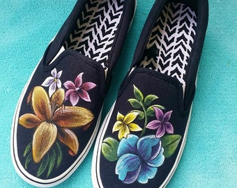 Hand painted floral design shoes