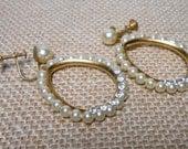 Reserved / Vintage Pearl Earrings, Pearls & Rhinestones, Screw Back Earrings, Dangles, Hoops, Faux Pearls, Costume Jewelry, Screw On, Jewell