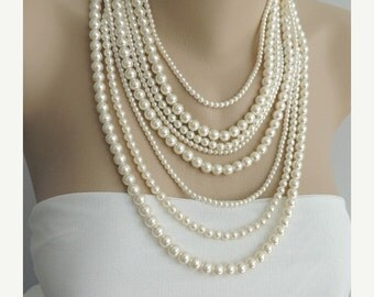 SALE - Multi Strand Pearl Necklace - Layer pearl necklace - Statement Necklace - pearl jewelry, chunky necklace - Bib Necklace